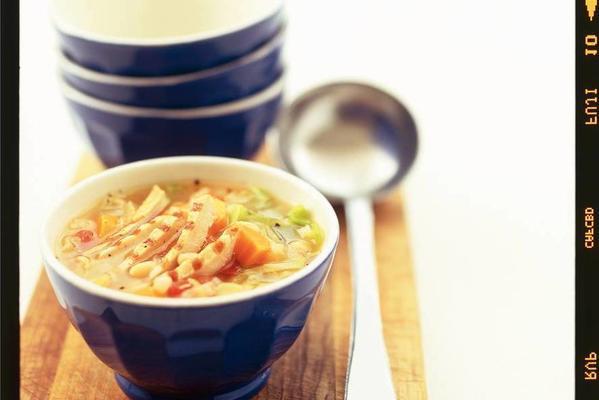 bean soup with grilled pork fillet