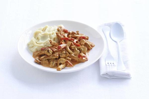 fast stroganoff with mashed potatoes