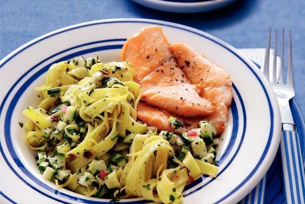 tagliatelle with lemon-herb oil and baked salmon