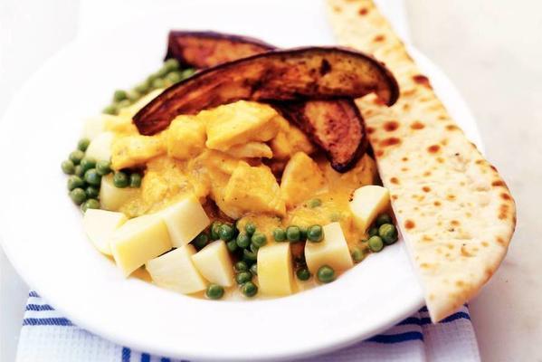 tilapia with garden peas, eggplant and kormasaus