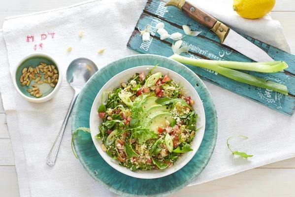 couscous salad with avocado and tomato