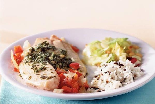 tilapi packages with rice and salad