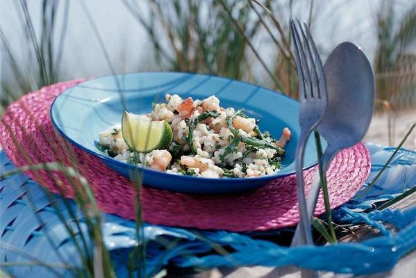 creamy rice with samphire and tiger shrimp