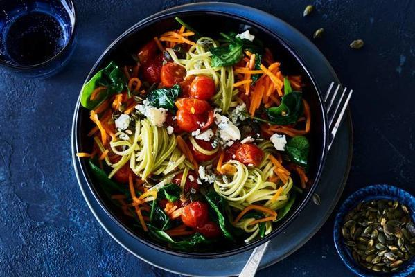 pasta with blue cheese and pumpkin seeds