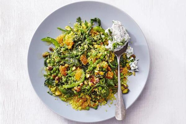 lukewarm couscous with vegetables and herb ricotta