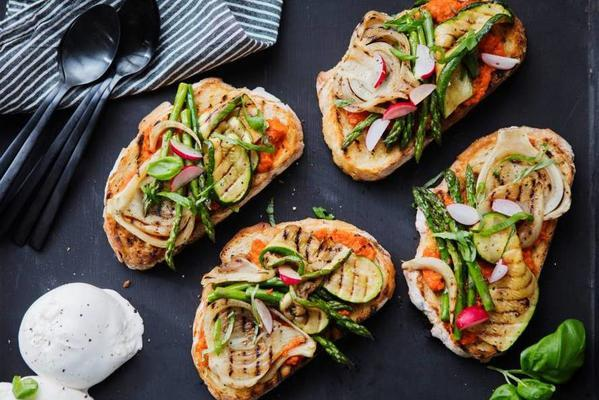 sourdough toast with grilled vegetables and buffalo mozzarella