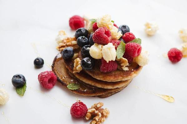 american pancakes with fruit and nuts