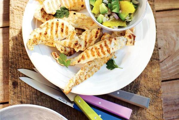 chicken fillet with avocado salad