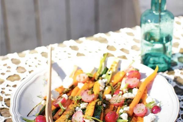 roasted carrots, spring onions and radishes