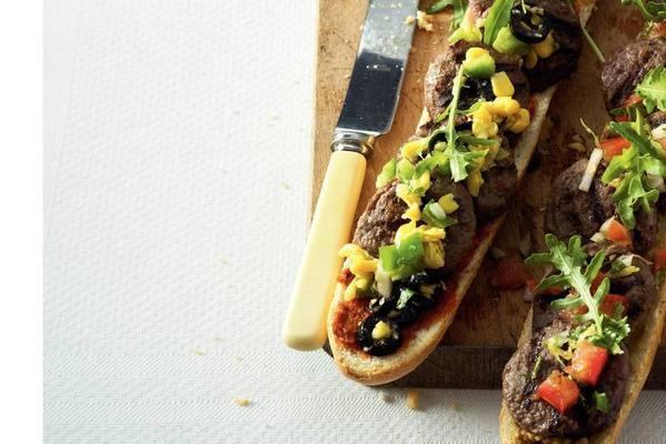 baguette with hamburgers and salsa