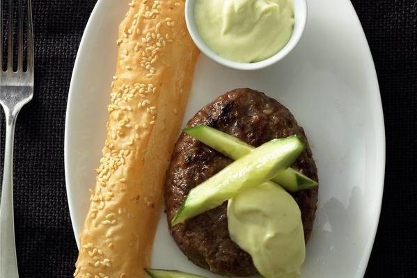 Japanese burger with wasabimayo
