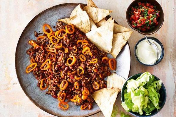 burrito dish with crispy tortilla dots