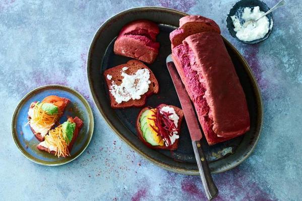 rainbow sandwiches with homemade purple bread