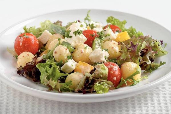 lukewarm kebab salad with cheese
