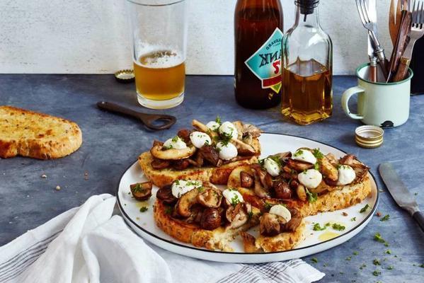 mushroom and mozzarella on spelled toast