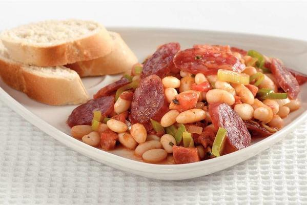 white bean dish with sausage and bacon