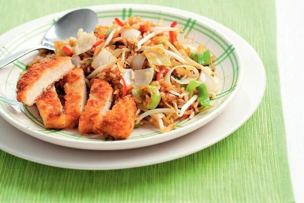 vegetarian schnitzel with fried rice