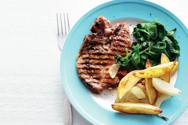 grill chops and spinach