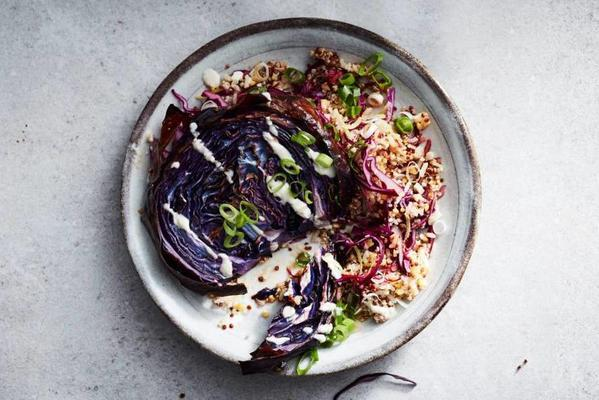 grilled red cabbage with quinoa salad