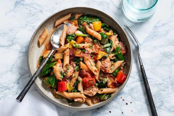 wholegrain pasta with spinach and tuna