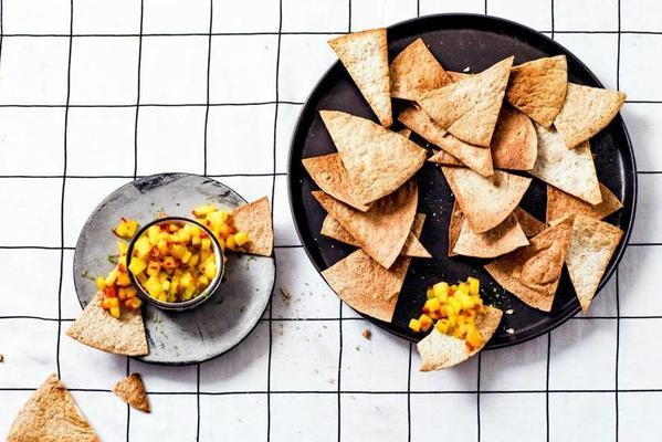 whole wheat tortilla chips with mango and lime salsa