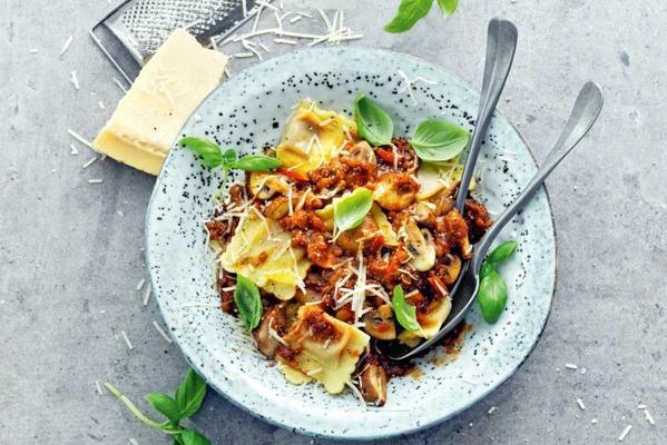 ravioli bolognese with mushrooms and lentils