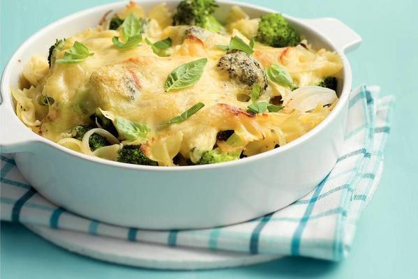 pasta dish with broccoli and cheese