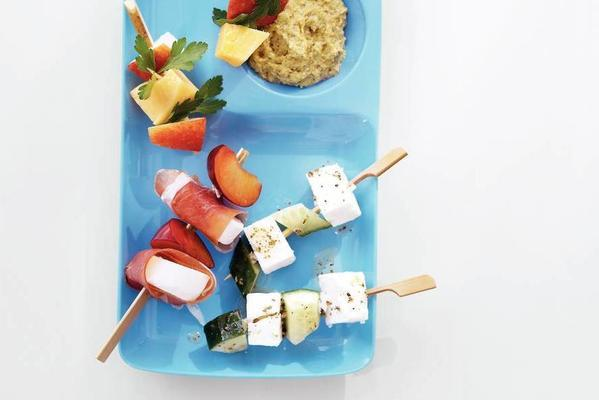 skewer with apple and old cheese