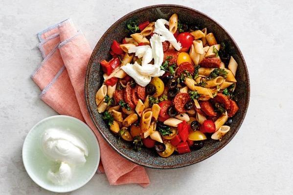 pasta salad with chorizo and mozzarella