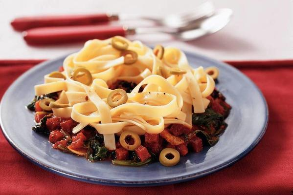 tagliatelle with salami and spinach in tomato sauce