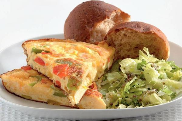 paprika cheese omelette with herb salad