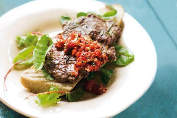 marinated sirloin steak with spicy pepper sauce