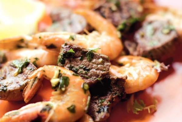 skewers with shrimp, steak and herb oil