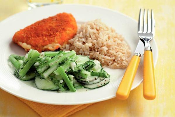 chicken cordon bleu with cucumber salad