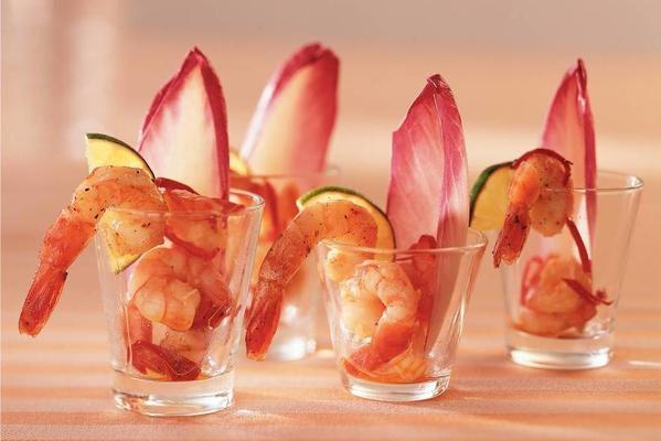 garlic chilli shrimps in small glasses