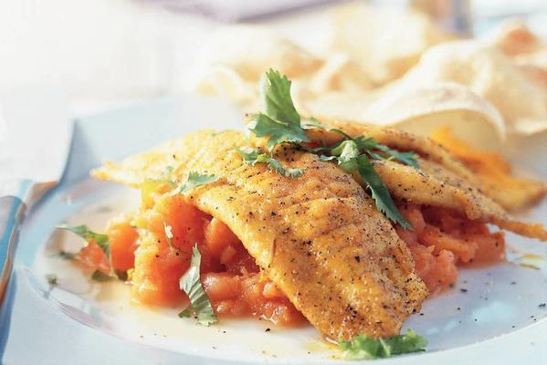 fried plaice with orange purée