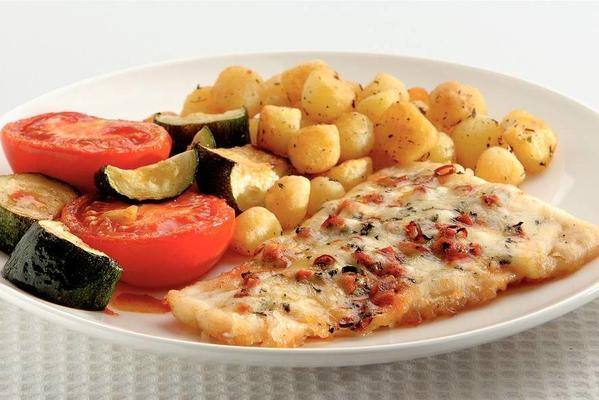 cod and tomato and zucchini from the oven