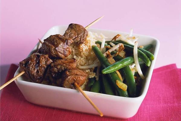couscous with steak skewers