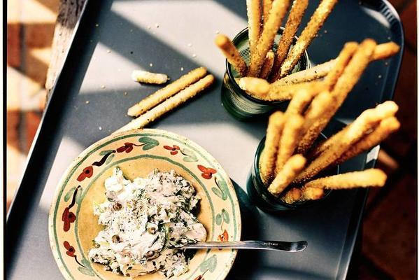 breadsticks with mascarpone dip