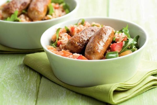 pepper rice with catalan bratwurst