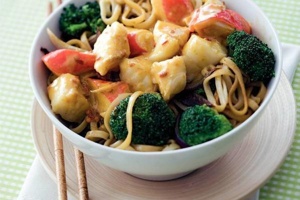 cod with broccoli and noodles