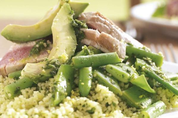 couscous salad with avocado and tuna