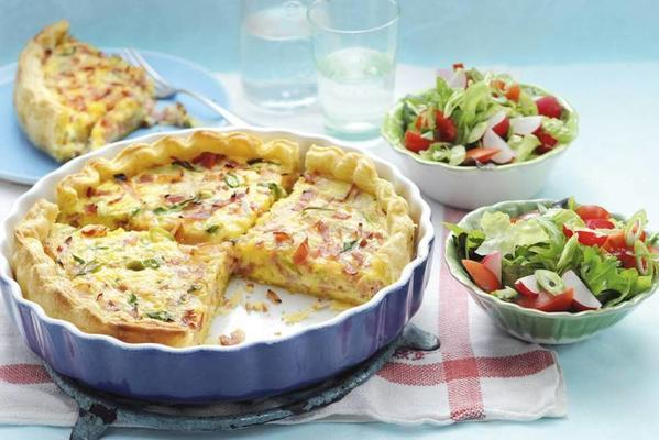 quiche lorraine with ham and spring onions
