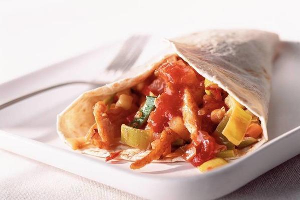 wrap with chicken, salsa and pineapple