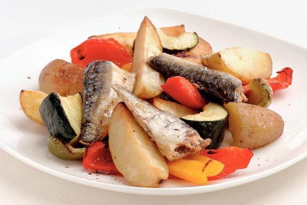 warm potato salad with sardines