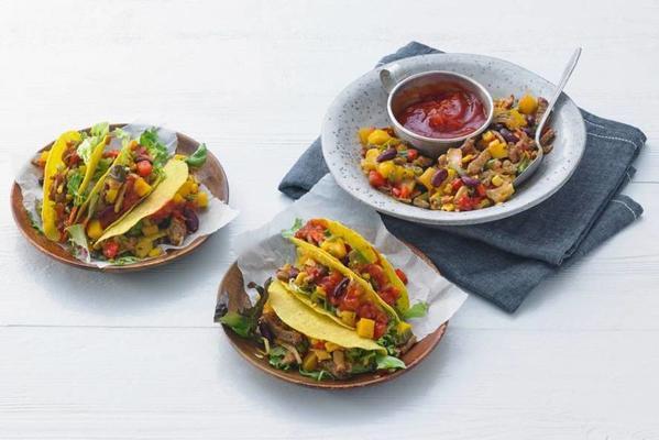 tacos with gyros, mango and salsa