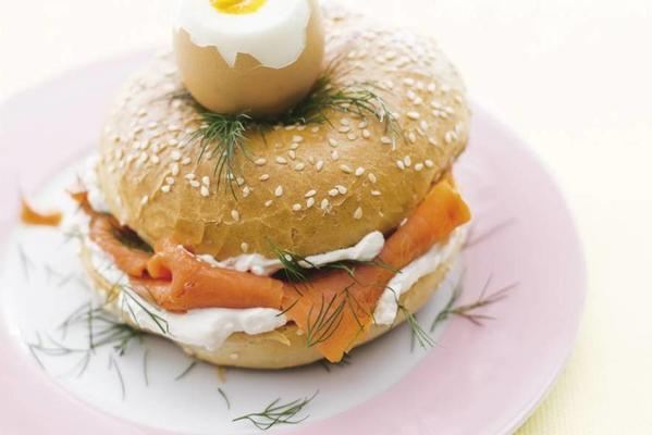 egg cup bagel with salmon and cream cheese