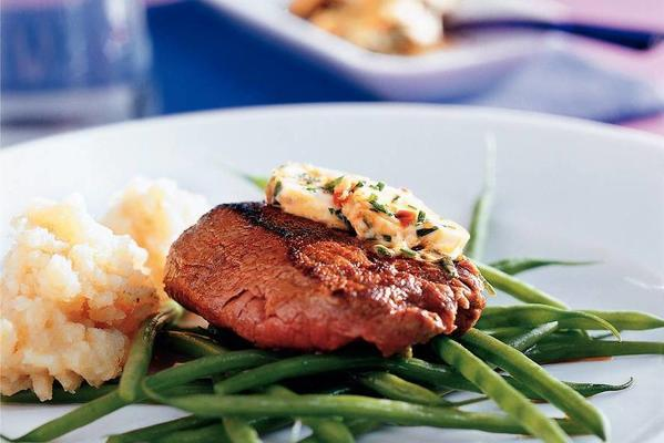 ostrich steak with spicy ginger butter