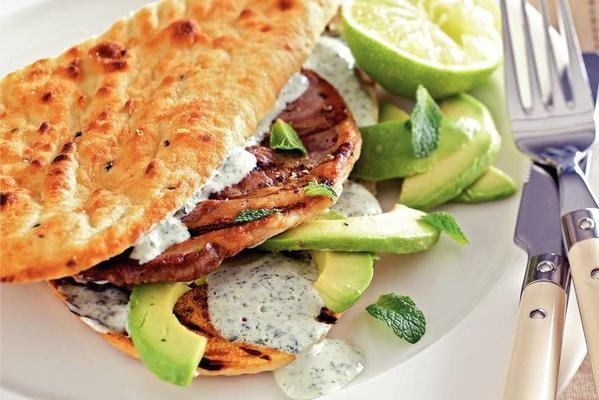 naan bread with grilled lamb, avocado and mint