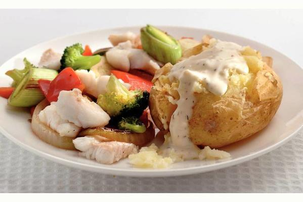 puff potato with stir-fry vegetables and fish
